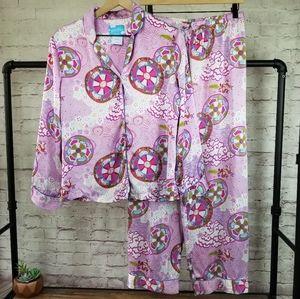 Nick & Nora Komodo Dragon Print Silk Pajama Set